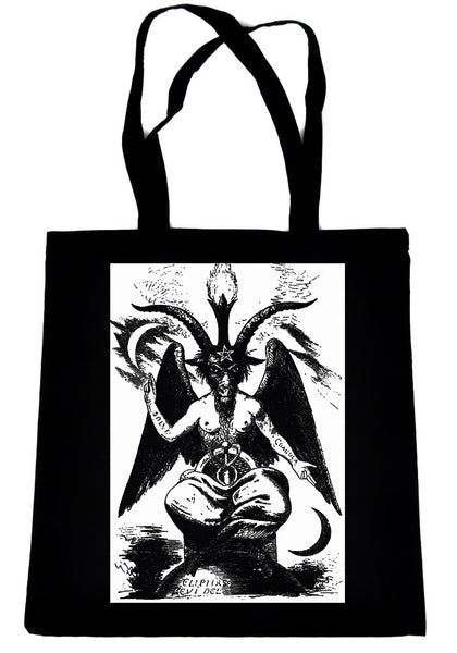 Original Baphomet By Eliphas Levi on Black Tote Book Bag Occult Handbag