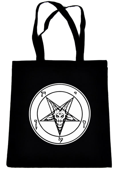 White Classic Satanic Baphomet on Black Tote Book Bag Occult Ritual Handbag