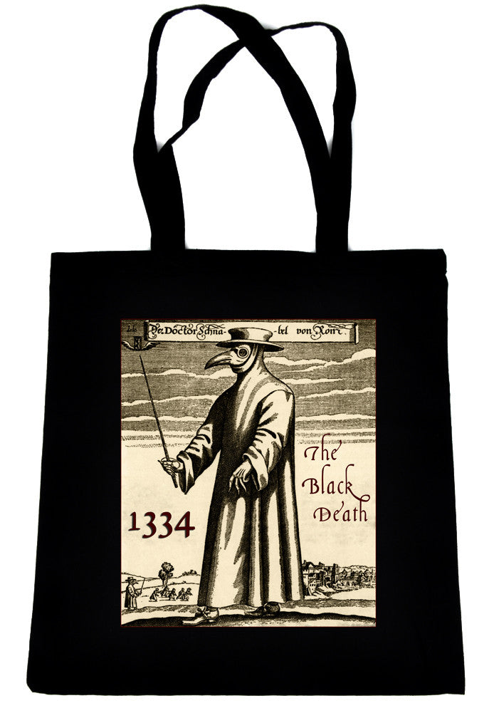 Black Death Plague on Tote Book Bag Bird Gas Mask Handbag 1334
