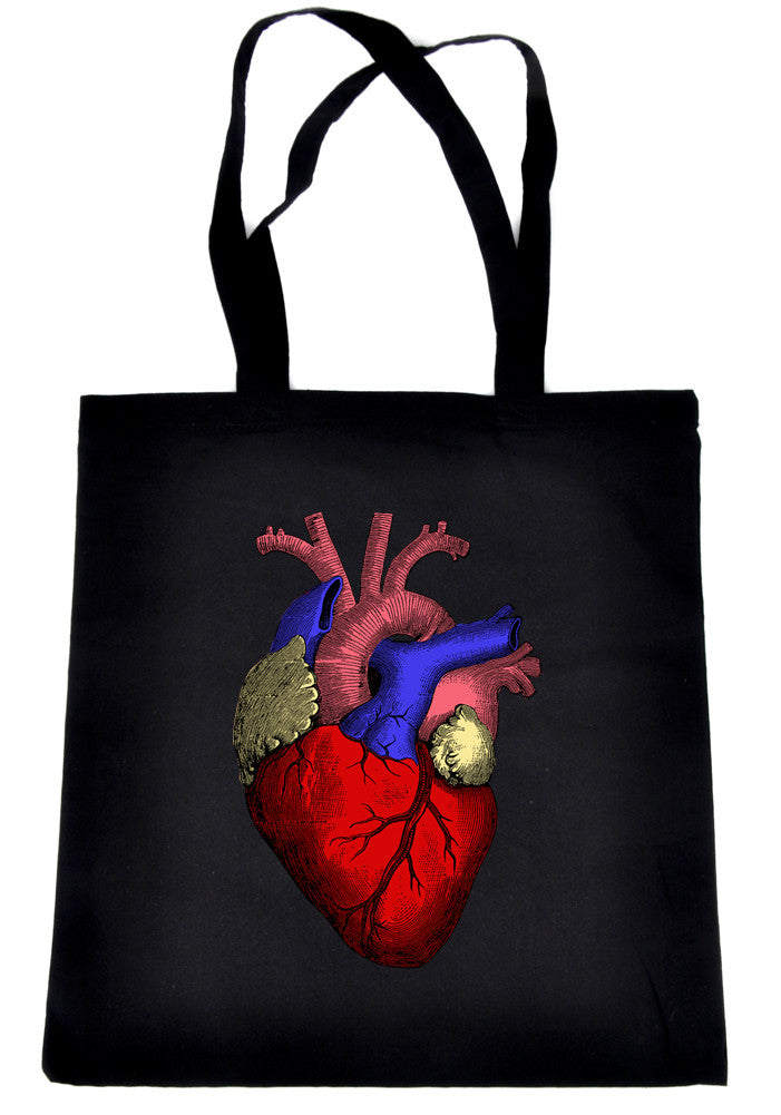 Anatomical Human Heart Tote Book Bag Medical Oddities Handbag