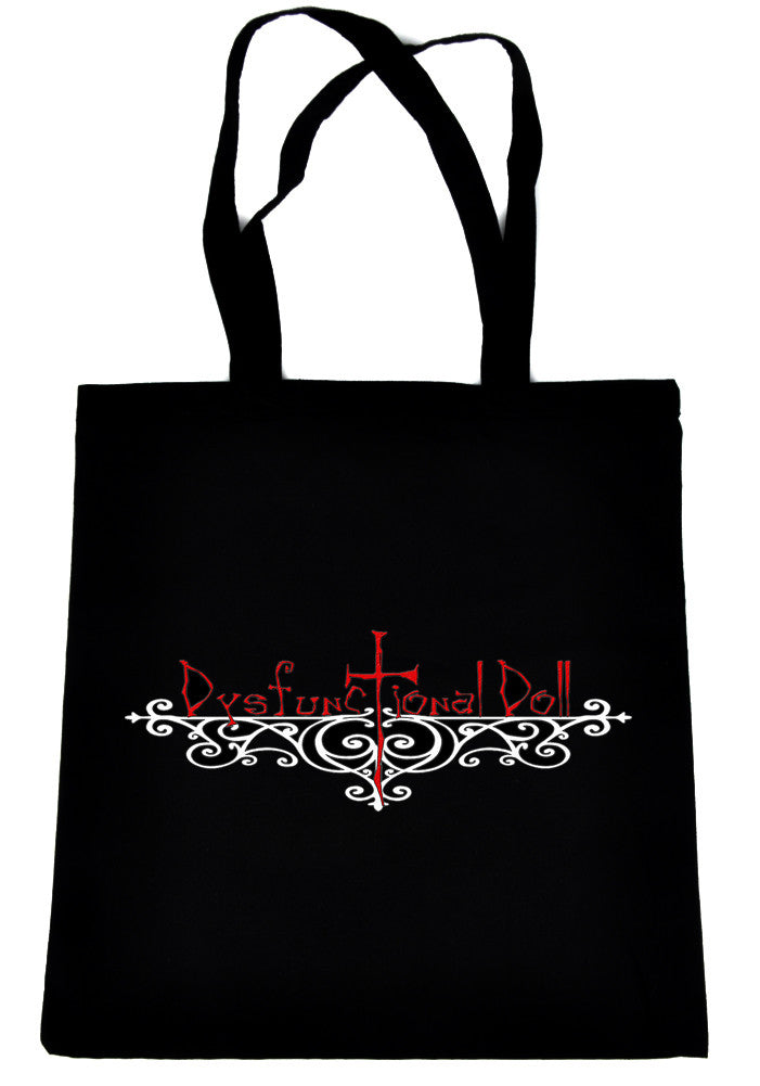 Dysfunctional Doll Wrought Iron Logo on Black Tote Book Bag Gothic Handbag