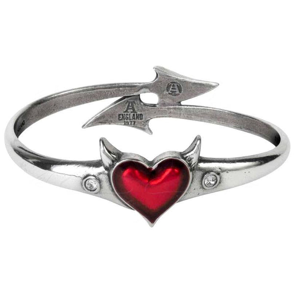 Alchemy Gothic Red Devil Heart Bangle Bracelet Cuff