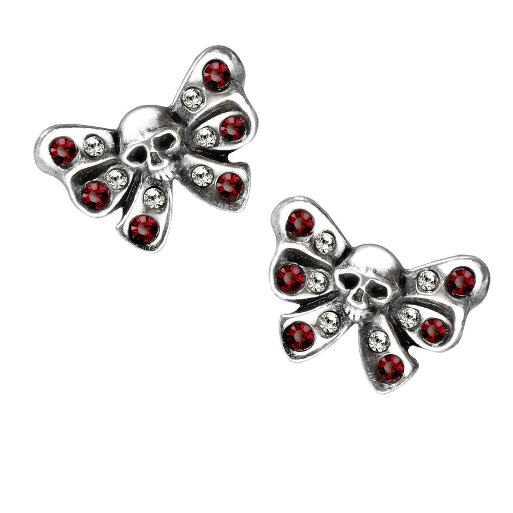 Alchemy Gothic Bow Belles Skull Stud Earrings