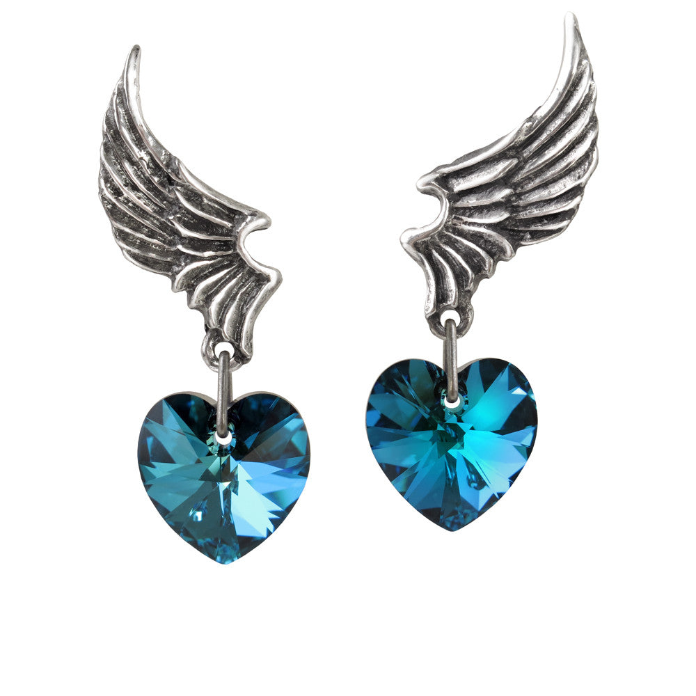 Alchemy Gothic El Corazon Blue Heart Earrings