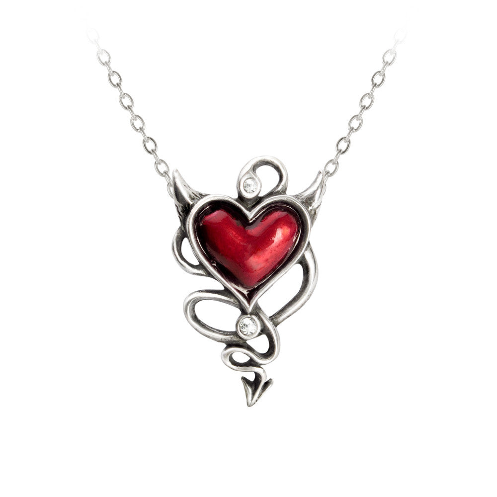 Alchemy Gothic Red Devil Heart & Horns & Tail Pendant Necklace