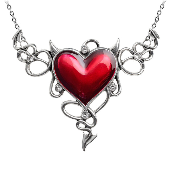 Alchemy Gothic Devil Horns Red Heart Généreux Pendant Necklace
