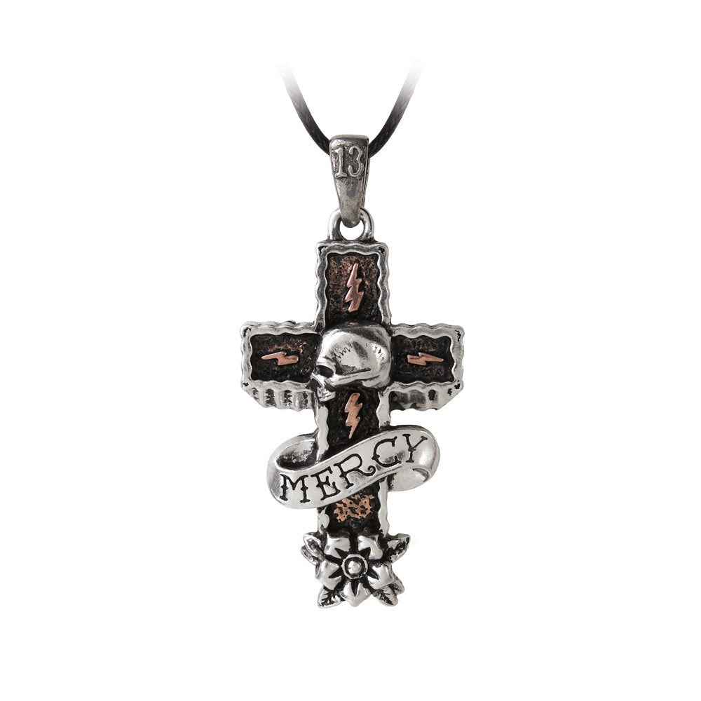 Alchemy Gothic Mercy Cross Skull Pendant Necklace