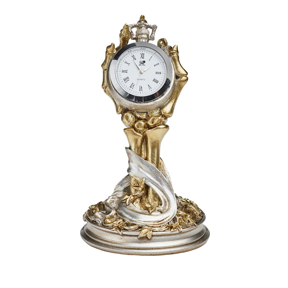 Alchemy Gothic Hora Mortis Desk Clock Skeleton Hand