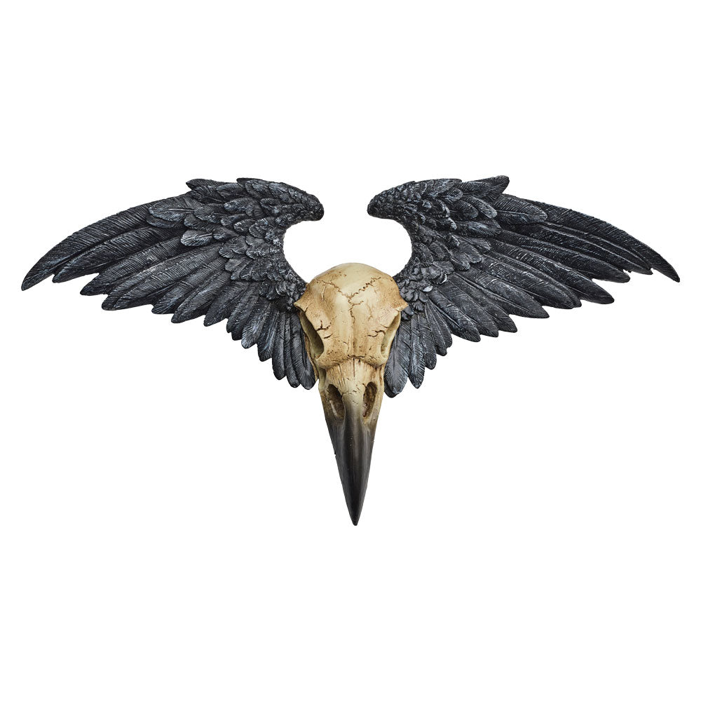 Alchemy Gothic Ravenger Wall Plaque Crow Raven Skull & Wings