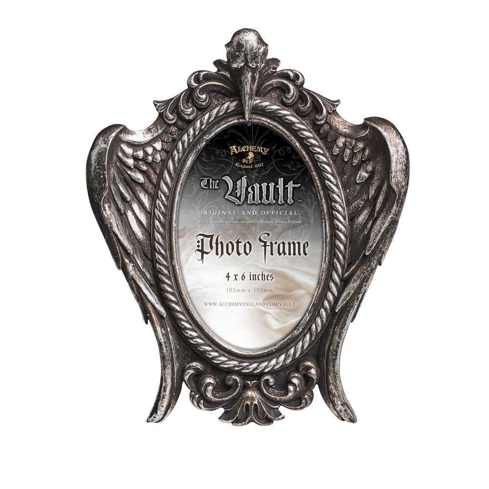 Alchemy Gothic My Soul from the Shadow Picture Frame Raven Crow Skull & Wings