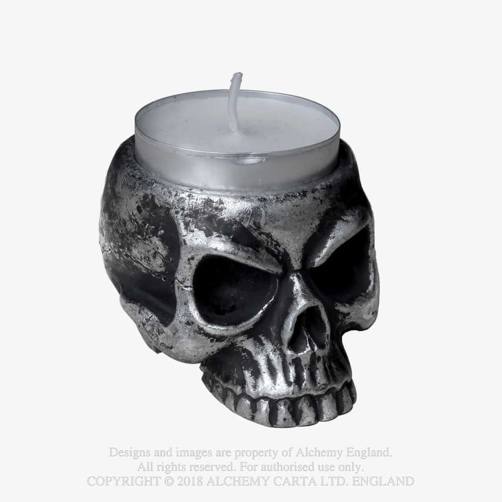 Alchemy Gothic Skull Tea Light Holder Candle Home Decor