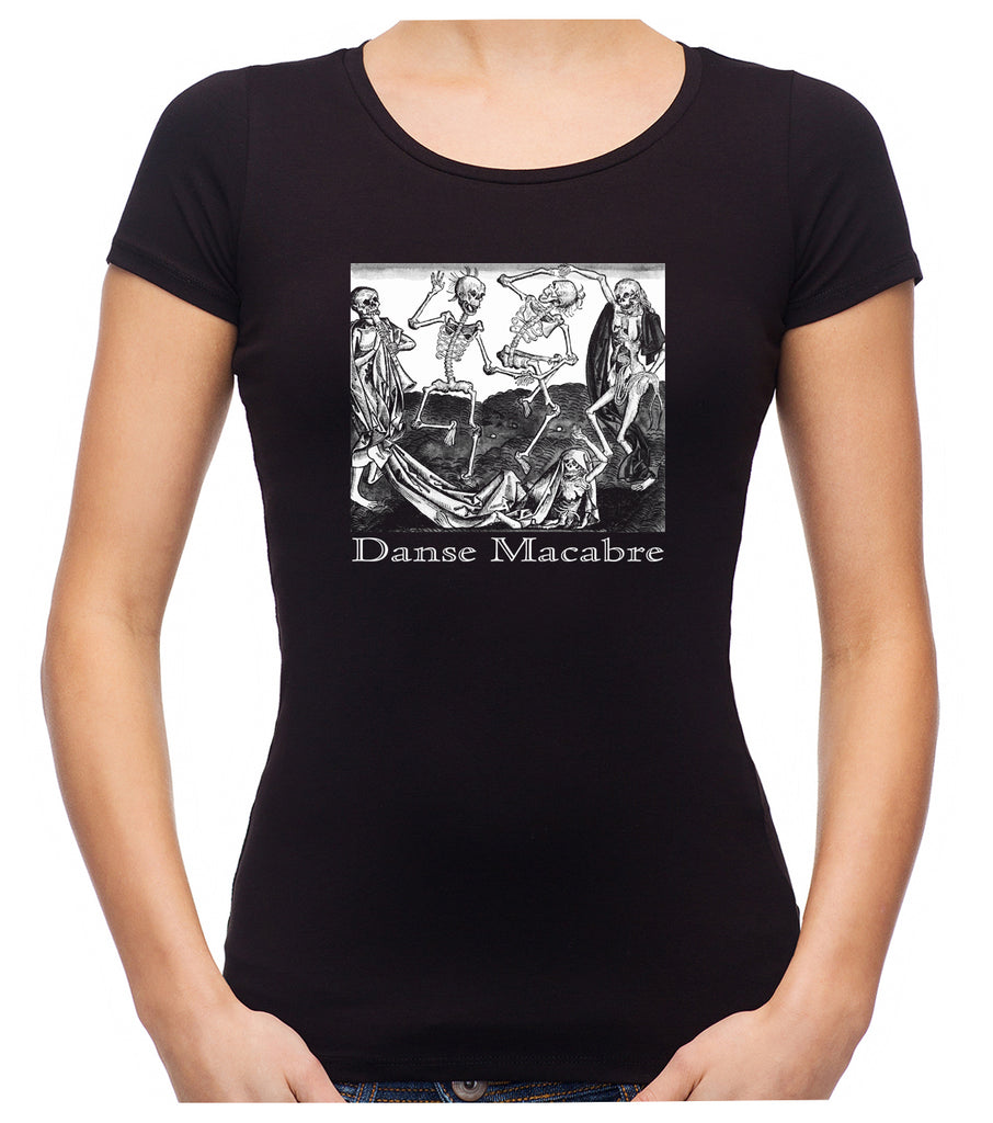 The Dance Of Death Danse Macabre Women's Babydoll Shirt Top Skeletons