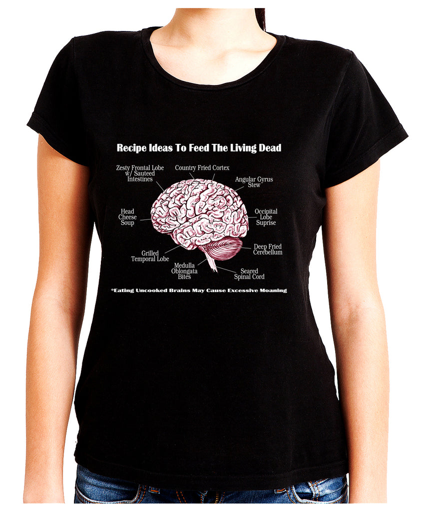 Brain Recipes Ideas for Zombies Women's Babydoll Shirt Top Living Dead