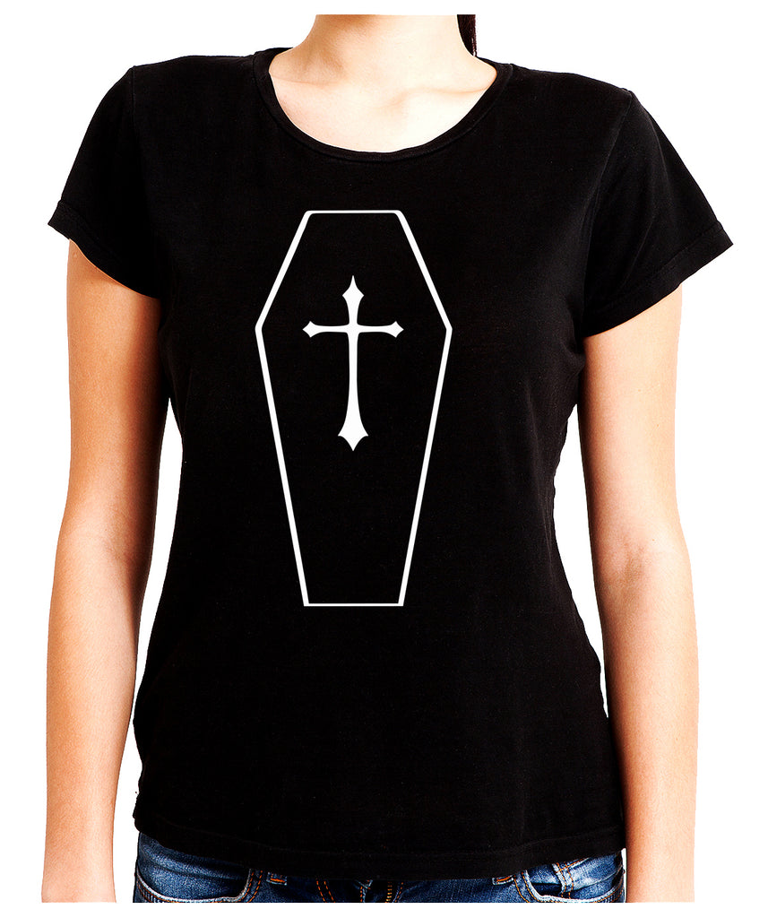 Toe Pincher Coffin w/ Cross Women's Babydoll Shirt Top Gothic Clothing