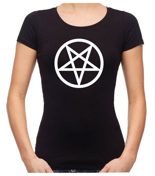 White Inverted Pentagram Women's Babydoll Shirt Top Occult Clothing