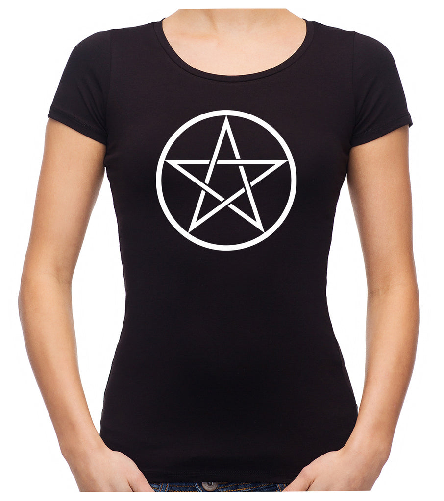White Woven Pentacle Women's Babydoll Shirt Top Witchy Clothing