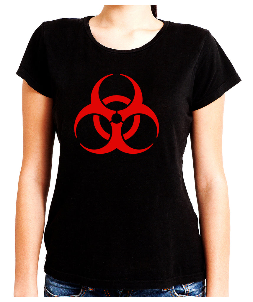 Red Bio-Hazard Radiation Women's Babydoll Shirt Top Cyber Goth Clothing
