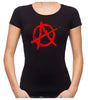 Red Anarchy Punk Rock Women's Babydoll Shirt Top Gothic Clothing