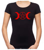 Red Triple Moon Goddess Pentagram Women's Babydoll Shirt Top Witchy Clothing