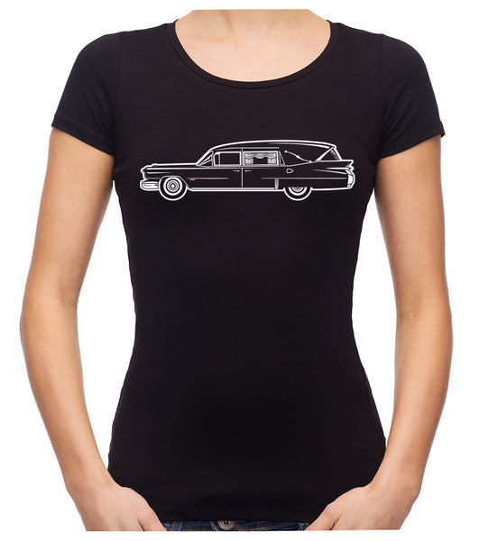 Hearse Funeral Car Women's Babydoll Shirt Top Occult Clothing