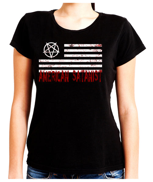 American Satanist Bloody Flag Pentagram Women's Babydoll Shirt Hail Satan Occult Alternative Clothing