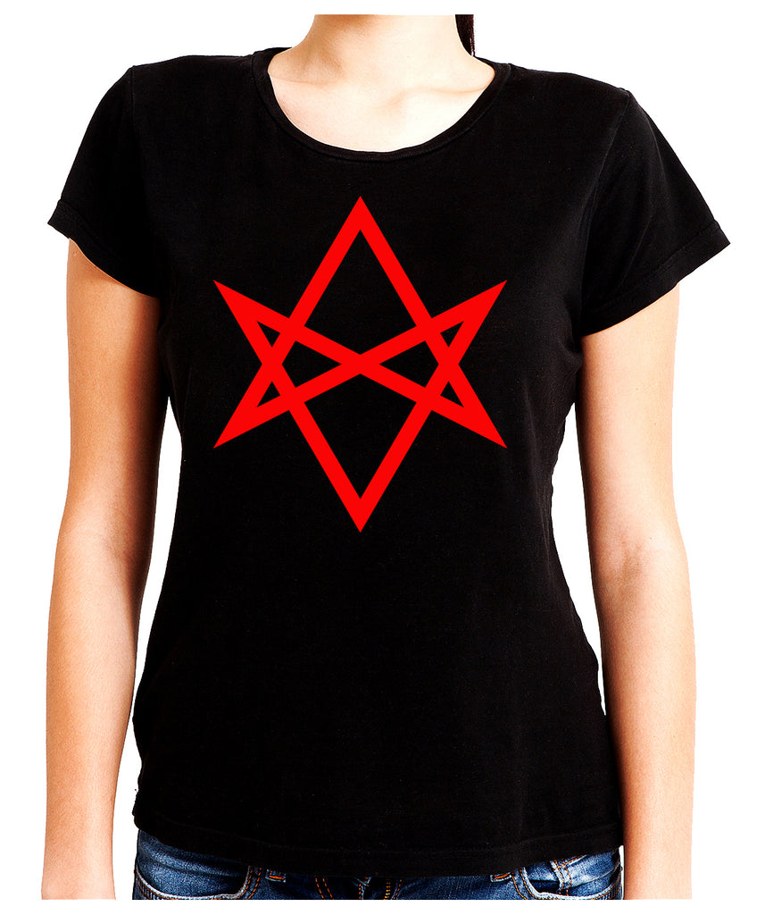 Red Unicursal Hexagram Six Pointed Star Women's Babydoll Shirt Occult Clothing