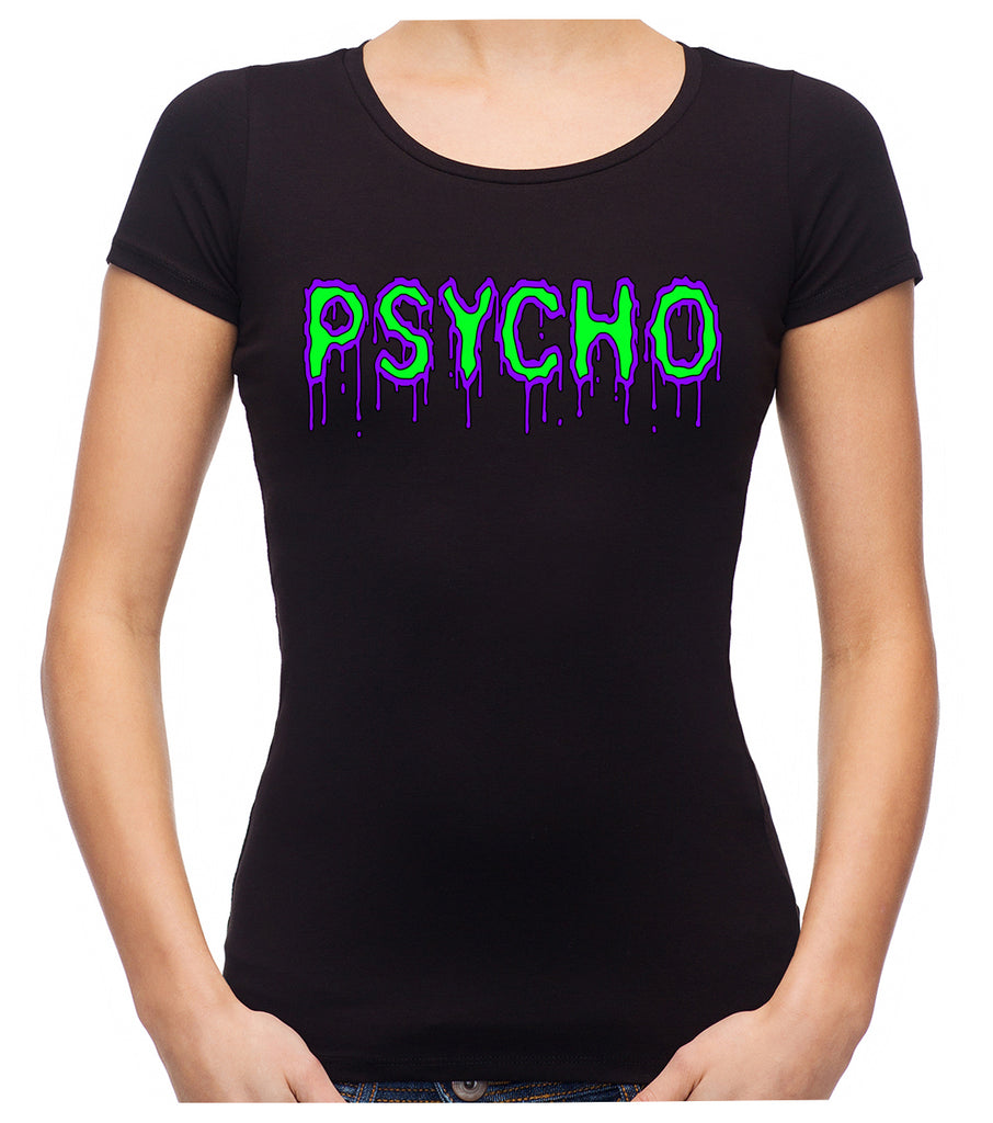 PSYCHO Purple & Green Drip Melting Women's Babydoll Shirt Horror Clothing