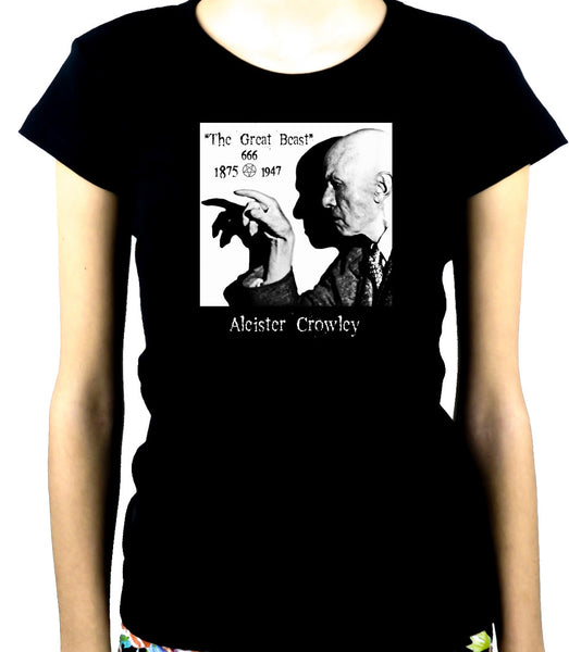 Aleister Crowley Women's Babydoll Shirt Top The Great Beast 666 Occult Black Magic
