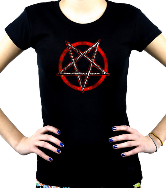 Inverted Pentagram Women's Babydoll Shirt Occult Metal Clothing