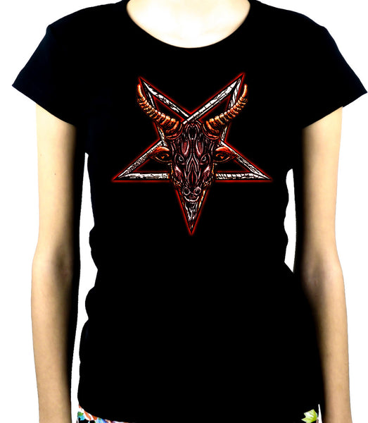 Sigil of Baphomet Goat Head Women's Babydoll Shirt Occult Clothing