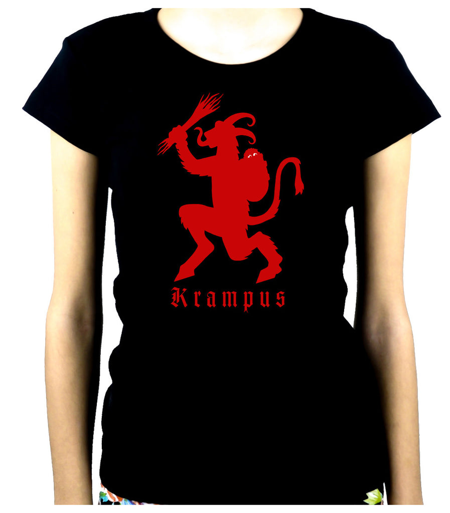 Merry Christmas Krampus Women's Babydoll Shirt Occult Clothing