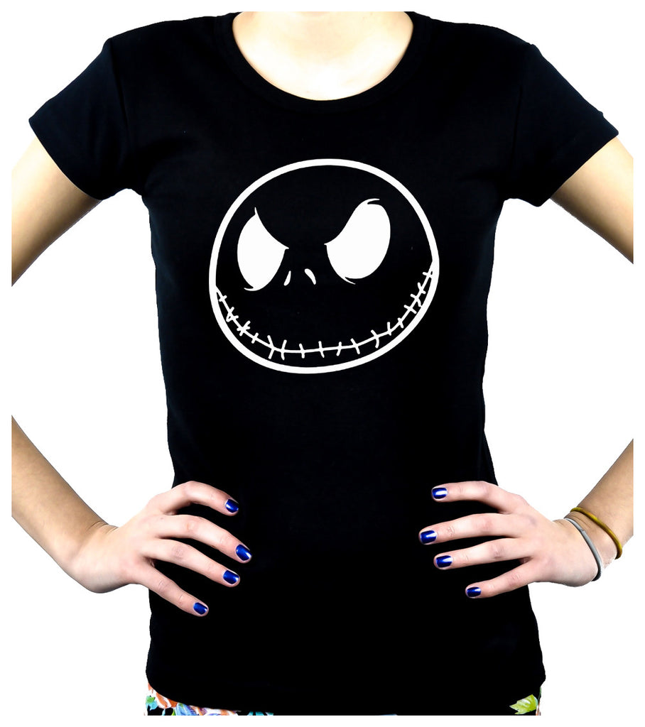 Negative Jack Skellington Face Women's Babydoll Shirt Top Nightmare Before Christmas