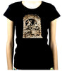 Diableries Devil Hell Scene Women's Babydoll Shirt Skeletons in Cauldron