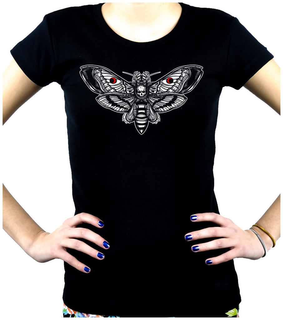 Moth with Death Skull Women's Babydoll Shirt Dark Gothic Alternative Clothing