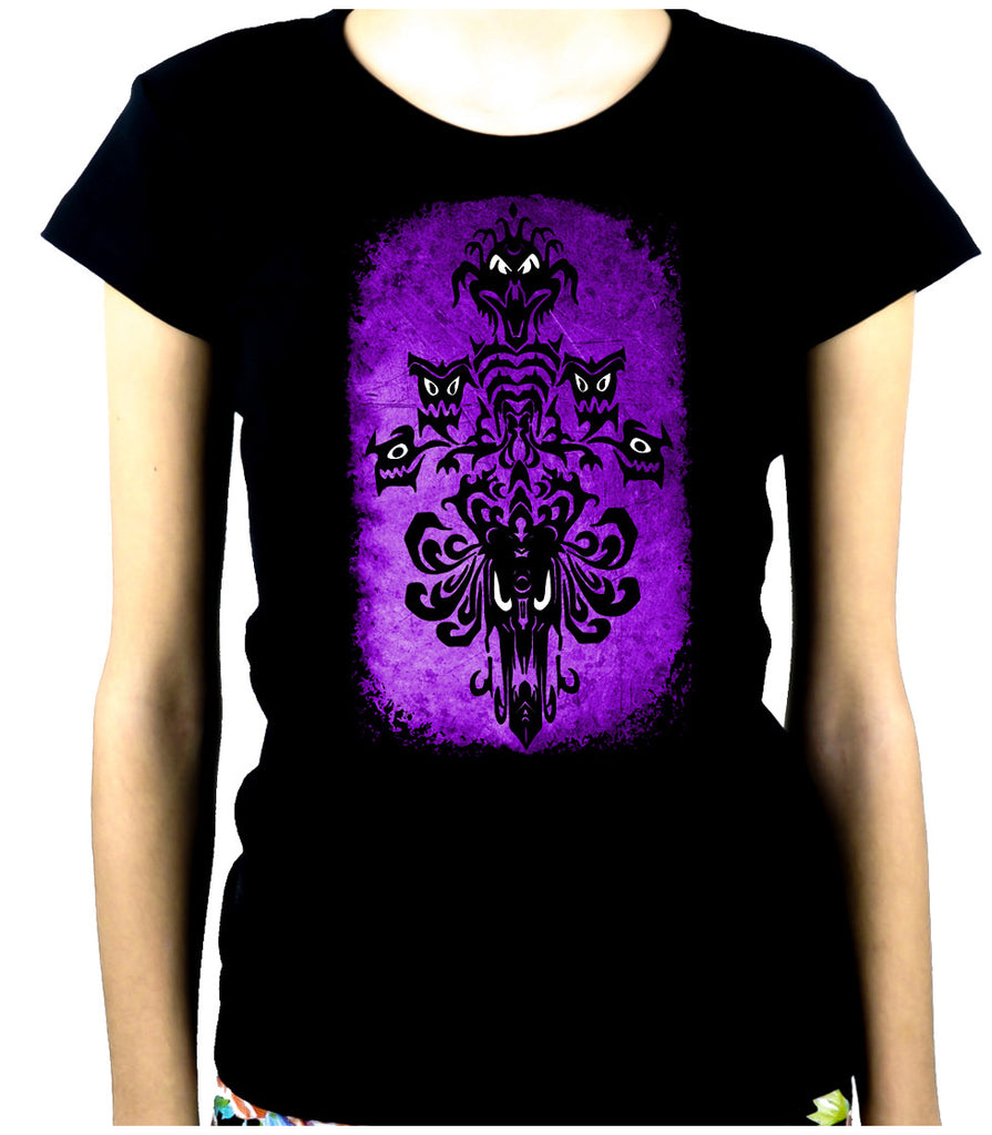 Haunted Mansion Wallpaper Ghoul Women's Babydoll Shirt Dark Alternative Clothing
