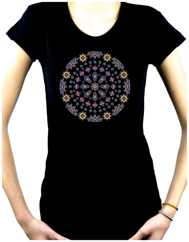 Geometric Gothic Stained Glass Window Women's Babydoll Shirt Dark Alternative Clothing