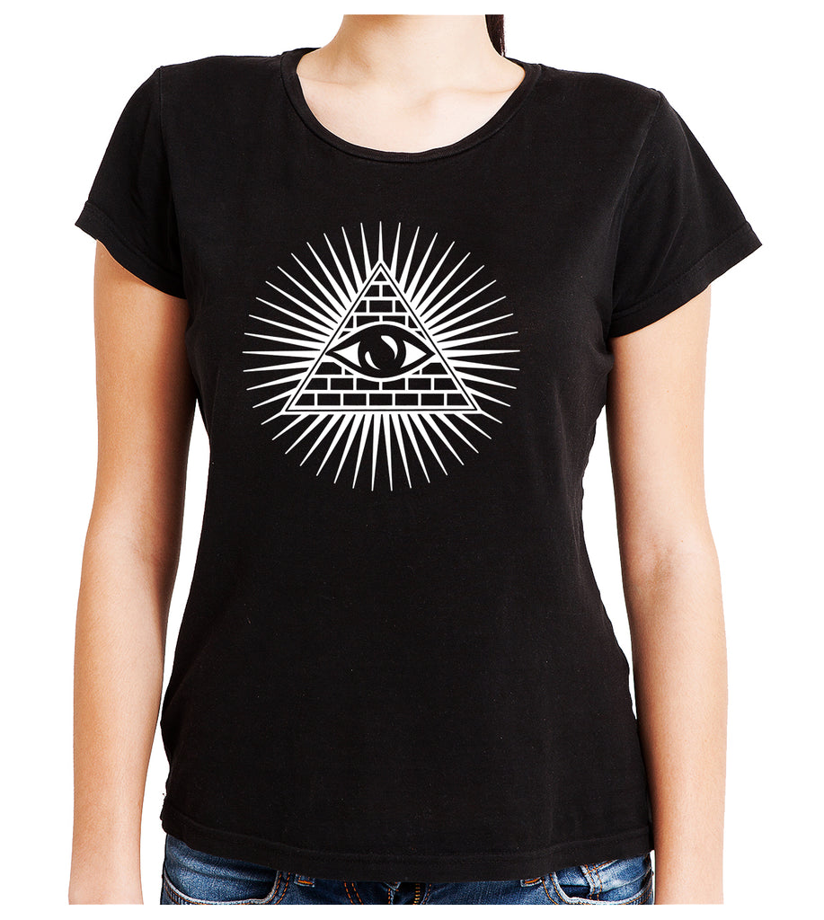 Pyramid w/ All Seeing Eye Women's Babydoll Shirt