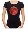 Blood Red Full Moon Women's Babydoll Shirt Top Lunar Eclipse