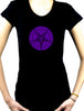 Purple Print Baphomet Symbol Women's Babydoll Shirt Black Metal Clothes