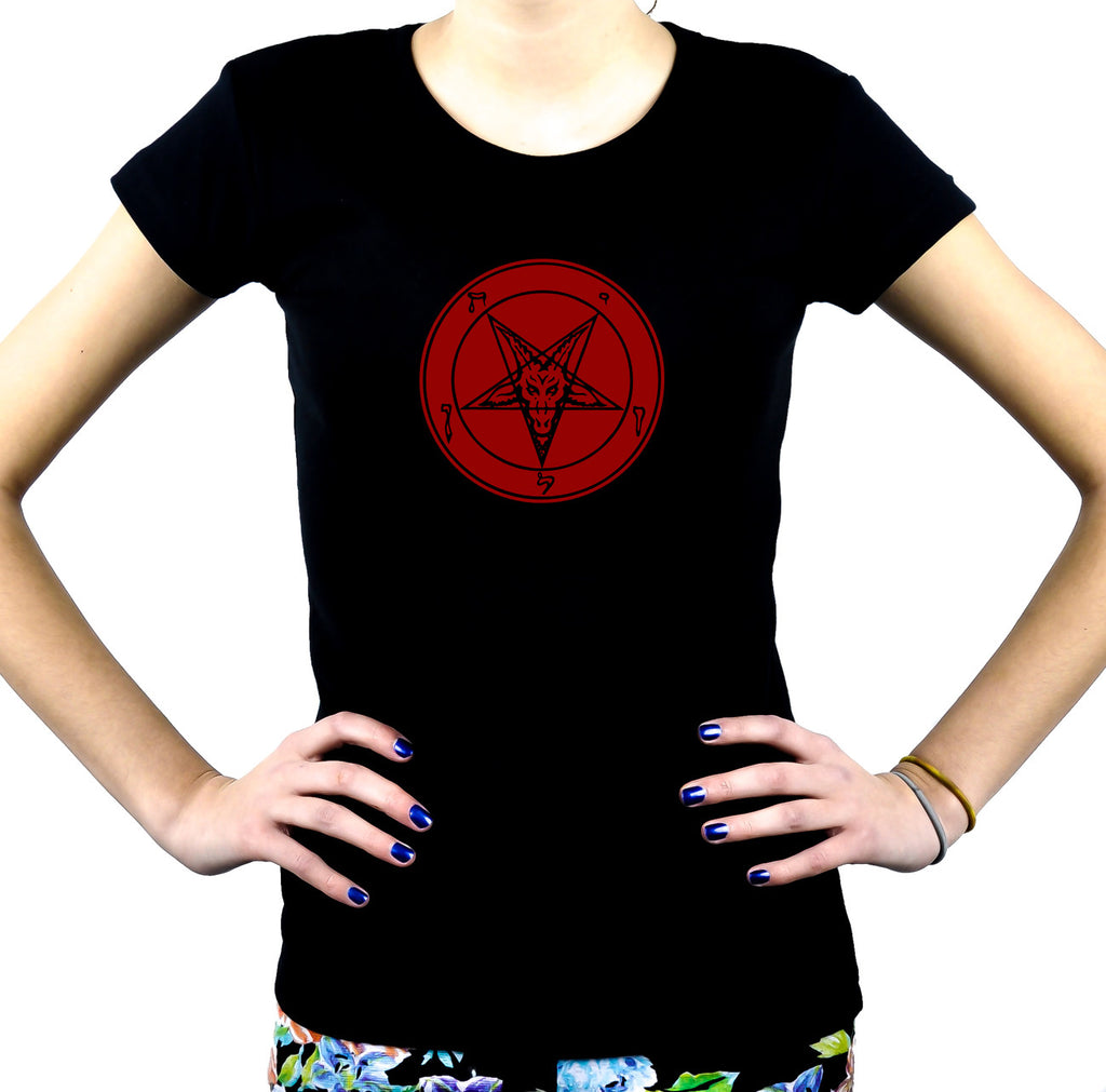 Red Print Baphomet Symbol Women's Babydoll Shirt Black Metal Clothes