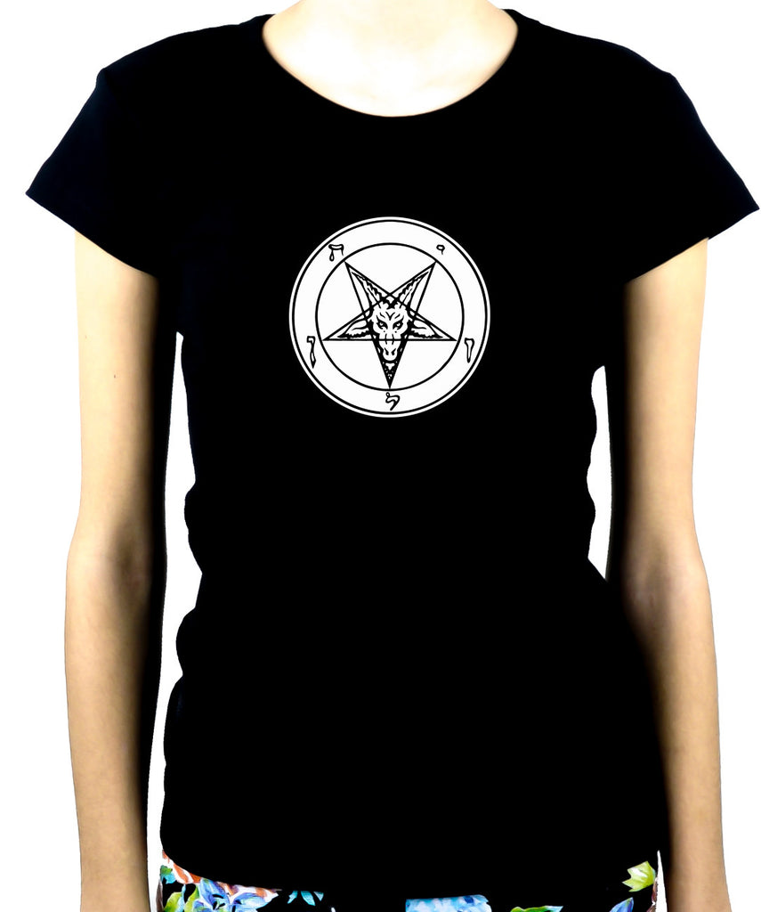 Solid White Baphomet Inverted Pentagram Women's Babydoll Shirt Top Occult