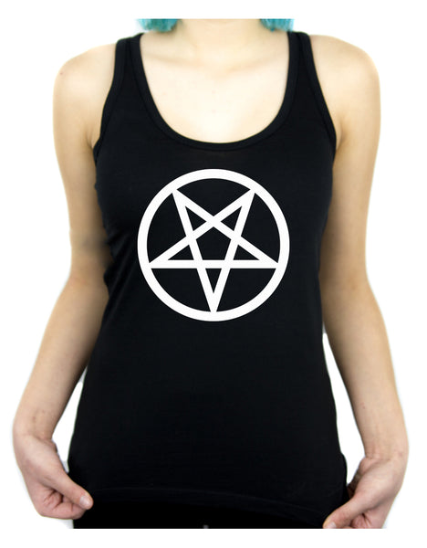 White Inverted Pentagram Racer Back Tank Top Shirt Occult