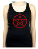 Red Woven Pentacle Racer Back Tank Top Shirt Witchy