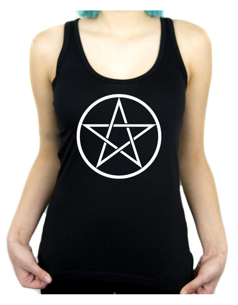 White Woven Pentacle Racer Back Tank Top Shirt Witchy