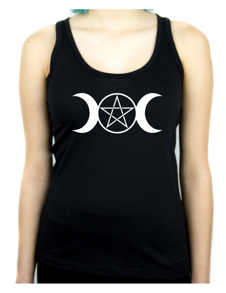 White Triple Moon Goddess Pentagram Racer Back Tank Top Shirt Witchy