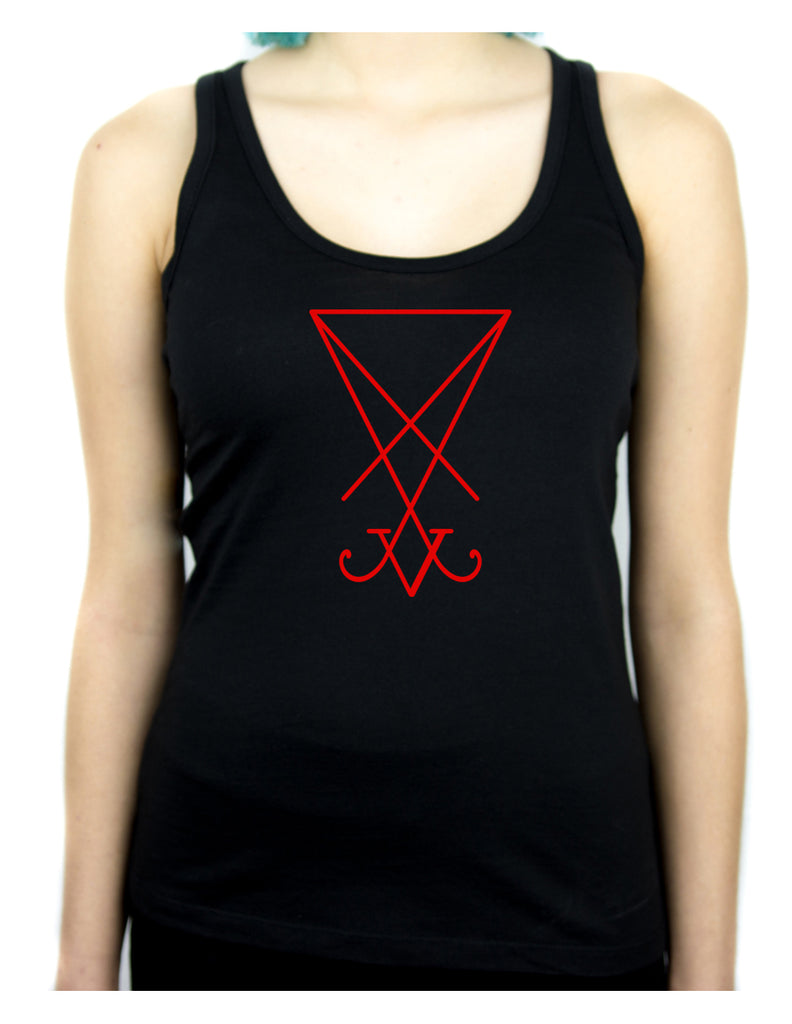 Red Sigil Of Lucifer Racer Back Tank Top Shirt Occult
