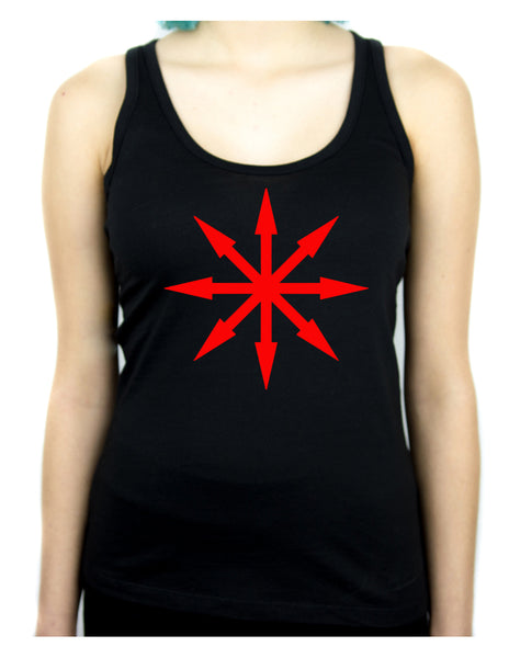 Red Eight Pointed Arrow Chaos Star Women's Racer Back Tank Top Shirt Occult Clothing