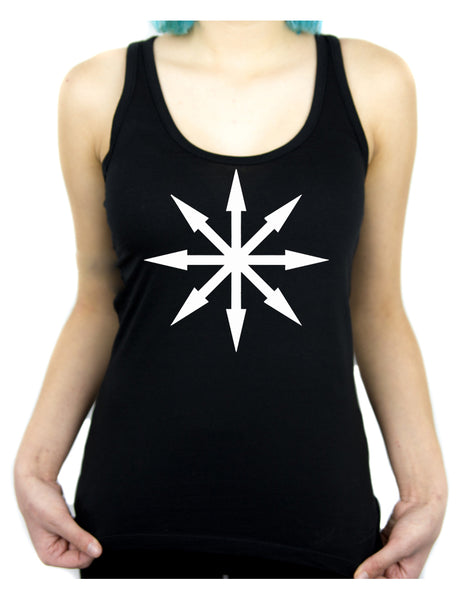 White Eight Pointed Arrow Chaos Star Women's Racer Back Tank Top Shirt Occult Clothing