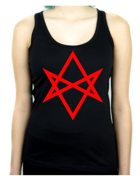 Red Unicursal Hexagram Six Pointed Star Women's Racer Back Tank Top Shirt Occult Clothing
