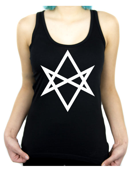 White Unicursal Hexagram Six Pointed Star Women's Racer Back Tank Top Shirt Occult Clothing